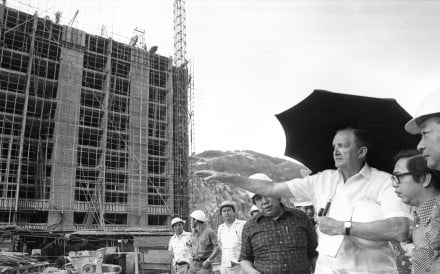 Governor Sir Murray MacLehose (left) visits Fu Shan Housing Estate which is under construction in 1977. Photo: SCMP