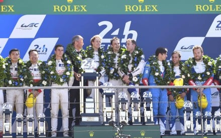 Porsche (centre), Jackie Chan DC Racing (left) and Oreca-Gibson on the podium. Photo: AFP