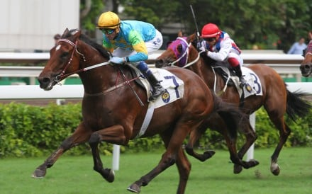 Rocketeer (Douglas Whyte) storms away for an impressive win over 2,000m on June 4 at Sha Tin. Photos: Kenneth Chan