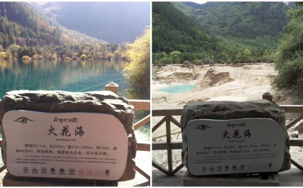 Water has draining from Sparkling Lake, one of the most iconic attractions at Jiuzhaigou, since the quake. Photo: Handout