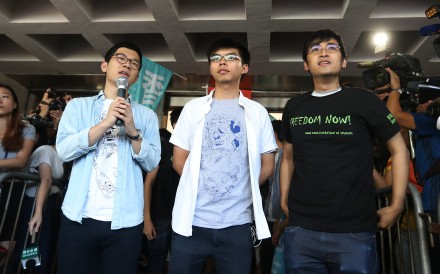 The Court of Appeal said the trial magistrate had not considered a deterrent element in the sentences for Nathan Law (left), Joshua Wong (centre) and Alex Chow (right). Photo: Edward Wong