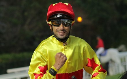 Alberto Sanna clenches his fist after completing a double at Sha Tin on Saturday. Photos: Kenneth Chan