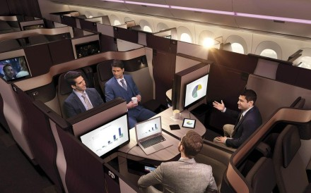 A living-room configuration of the modular, new Qsuite, Qatar Airways' new business-class product. Photo: Qatar Airways