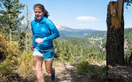 Ultra runner and depression sufferer Nikki Kimball running in the Montana hills where she lives.