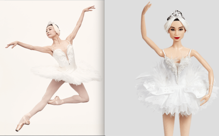 Chinese ballerina Tan Yuanyuan in action (left) and the newly issued Tan Barbie doll. Photo: Mattel