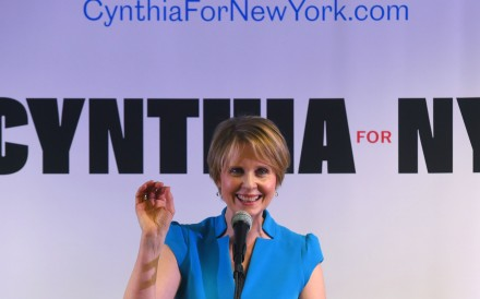 Former Sex and the City star Cynthia Nixon speaks to people at the Bethesda Healing Centre in Brooklyn, New York on March 20, 2018 at her first event since announcing that she is running for governor of New York. Photo: AFP