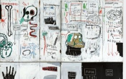 Part of the painting, 'Flesh and Spirit', by street artist Jean-Michel Basquiat, which will be auctioned by Sotheby's in May. Photo: Sotheby's