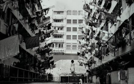 """Hong Kong flags"" flutter from the laundry drying racks of a public housing estate in Shek Kip Mei, Hong Kong in 1986. Picture: SCMP"