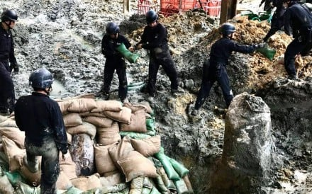 The unexploded American second world war bomb was the third dug up at the construction site at Convention Avenue in Wan Chai this year. Photo: Facebook