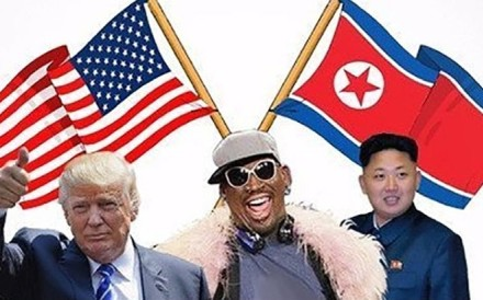 A composite image post on Twitter by Dennis Rodman, showing him with Donald Trump and Kim Jong-un. Photo: @dennisrodman
