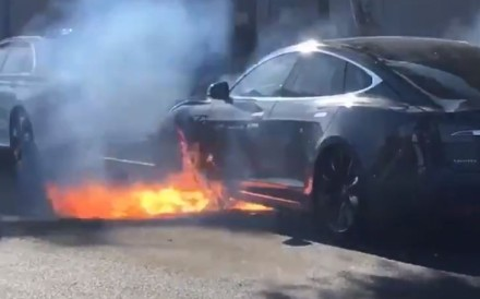A still from a video posted by Mary McCormack, showing what she said was her husband's Tesla Model S bursting into flames in Los Angeles on Friday. Image: Mary McCormack via Twitter
