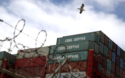 Containers on the CSCL East China Sea container ship at the Port of Oakland last month. The US and China imposed tit-for-tat tariffs on a variety of goods in the first shot in a trade war. Photo: AFP