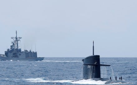 A Taiwanese navy submarine during a drill near the Yilan naval base in April. Photo: Reuters