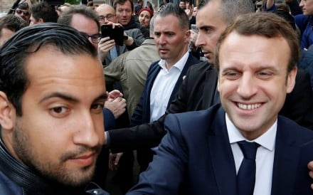 Emmanuel Macron, flanked by Alexandre Benalla, his head of security. Photo: Reuters