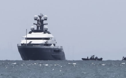 Luxury yacht 'Equanimity' anchored in the waters off Batam Island, Indonesia. Photo: AP