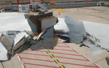 The Boeing 777-300ER aircraft was being towed by a truck at Leonardo da Vinci – Fiumicino Airport
