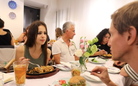 A vegan gathering at Zerogo in Wangjing, Beijing. Veganism is on the increase in China. Photo: Simon Song