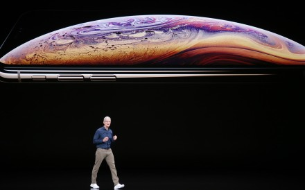 Tim Cook introduces Apple's new smartphone, the iPhone Xs, on September 12, at the company headquarters in Cupertino, California. The world's most valuable company, Apple owns virtually no tangible assets. Photo: Bay Area News Group/TNS