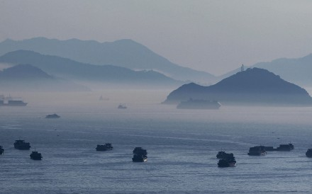 """Lantau Island as seen from Tai Kok Tsui. In pressing on with the East Lantau reclamation project, now dubbed the """"Lantau Tomorrow Vision"""", Chief Executive Carrie Lam is waving aside the environmental damage it will cause. Photo: Roy Issa"""