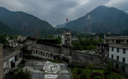 This picture taken on April 21, 2018 shows the destroyed Xuankou Middle School, the memorial site for the 2008 Sichuan earthquake, in Yingxiu near Beichuan in Sichuan province. The city of Beichuan has been kept frozen in time since May 12, 2008, when a 8.0-magnitude earthquake killed 80,000 people across Sichuan province. Photo: AFP