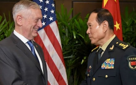 US Secretary of Defence James Mattis shakes hands with China's General Wei Fenghe during a bilateral meeting in Singapore on Thursday. Both defence chiefs endorsed the non-binding guidelines. Photo: EPA-EFE