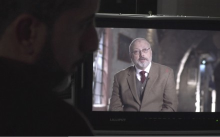 Journalist Jamal Khashoggi being interviewed in March from an undisclosed location. Photo: Metafora Production via AP
