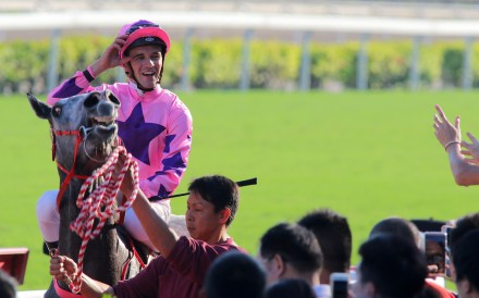 Sam Clipperton returns to the winners circle after winning on Hot King Prawn. Photos: Kenneth Chan