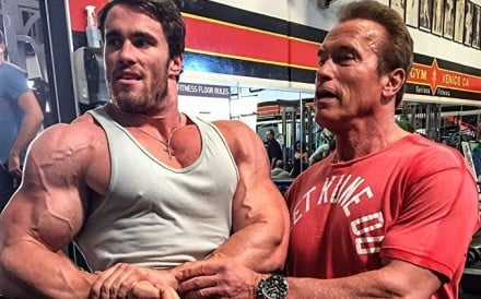 Calum Von Moger and Arnie at Gold's Gym in Venice, California. Photo: Instagram