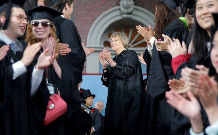 Harvard University President Drew Faust (centre) congratulates students after they received their degrees during the 366th Commencement Exercises at Harvard University in Cambridge, Massachusetts in 2017. Photo: Reuters