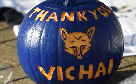 A pumpkin painted blue and carved with the message 'Thank You Vichai' is seen among the tributes gathered outside Leicester City's King Power Stadium, in honour and remembrance of those who died in a helicopter crash including the club's Thai chairman Vichai Srivaddhanaprabha. Photo: AFP