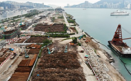 The fallen trees piled up at Kai Tak in East Kowloon. Photo: Roy Issa