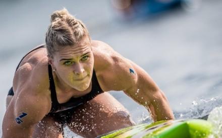 Katrin Davidsdottir paddles in the Madison Triplus in the 2018 CrossFit Games. Photos: CrossFit Games