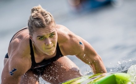 Katrin Davidsdottir paddles in the Madison Triplus in the 2018 CrossFit Games. Photos: CrossFit Games