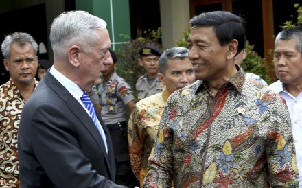 US Defence Secretary James Mattis meets Indonesian Coordinating Minister for Politics, Security and Law Wiranto after a meeting in Jakarta. Photo: AP