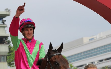 Chad Schofield after riding a winner on Sunday at Sha Tin, edging him closer to International Jockeys' Challenge qualification in the process. Photos: Kenneth Chan