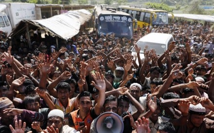 Rohingya refugees shout slogans during a protest against a disputed repatriation programme at a refugee camp near Teknaf, Bangladesh. Photo: EPA
