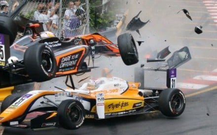 Sophia Floersch's car flies into the air and off the track at the Macau Grand Prix. Photo: Twitter
