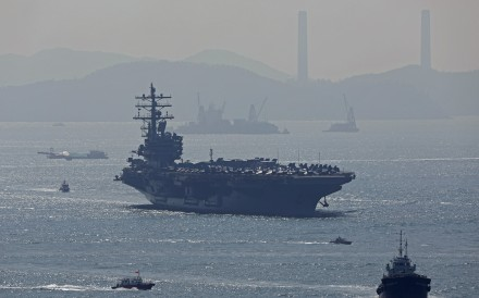 US aircraft carrier USS Ronald Reagan enters Hong Kong waters for a port visit on Wednesday. Photo: Roy Issa