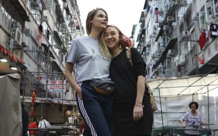 Pussy Riot's Nika Nikulshina and Olya Kurachyova go sightseeing in Hong Kong. Photo: Nora Tam