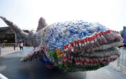 An installation depicts a whale shark made of plastic bottles, at Rizhao Ocean Park in China's eastern Shandong province in July 2018. Photo: AFP