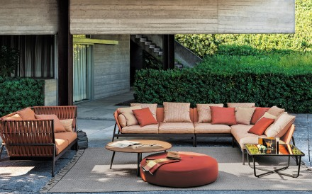 Zzue Creation's Piper Sofa by Roda comes in a unique rust-coloured finish that enlivens outdoor space.