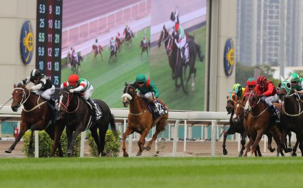 Exultant and Zac Purton fight back to beat Lys Gracieux and Joao Moreira in the Longines Hong Kong Vase at Sha Tin. Photos: Kenneth Chan