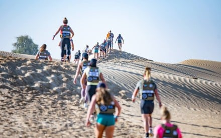 Athletes compete in the '4x4' desert run. Photos: Dubai CrossFit Championship