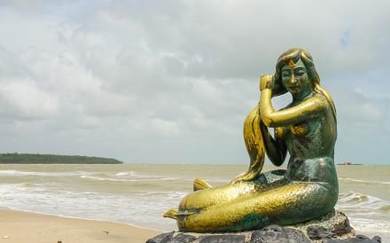 The Golden Mermaid statue at Samila Beach in Songkhla city. Photo: Shutterstock