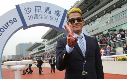 Aaron Kwok celebrates Dancing Fighter's win at Sha Tin on Saturday. Photos: Kenneth Chan