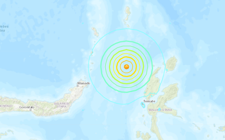 The quake struck 175km north northwest of the city of Ternate. Photo: USGS