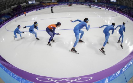 A training session at the Gangneung Oval speedskating venue in South Korea. Photo: EPA