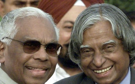 A.P.J. Abdul Kalam (right), the president of India from 2002 to 2007, poses with his outgoing predecessor, K.R. Narayanan, in New Delhi in July 2002. Kalam, who died in 2015, was a highly regarded scientist who played a leading role in the development of India's missile and nuclear weapons programmes. Photo: Reuters