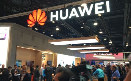 In this file photo taken last Thursday, the Huawei booth is seen during the CES 2019 consumer electronics show at the Las Vegas Convention Centre. Photo: AFP