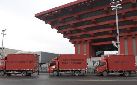 "The ""three billboards"" protest makes its way past the China Art Palace museum in Shanghai last weekend. Photo: Handout"